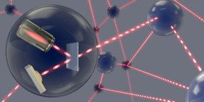 Single photons transmit quantum information between the network nodes, where they are stored in an atomic gas.