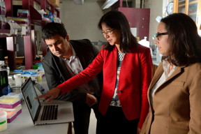 Johns Hopkins engineering faculty members, from left, David Gracias, Thao (Vicky) Nguyen and Rebecca Schulman, teamed up with their students and used DNA sequences to trigger significant shape-changing in a hydrogel sample.