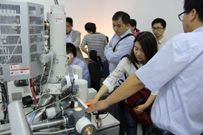 Visitors to Professor He's laboratory at Nanjing Agricultural University look at the Quorum PP3010T Cryo-SEM sample preparation system mounted on a Hitachi HHT S4100 SEM