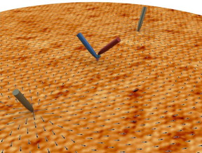 A new microscopy method developed by an ORNL-led team has four movable probing tips, is sensitive to the spin of moving electrons and produces high-resolution results. Using this approach, they observed the spin behavior of electrons on the surface of a quantum material.
