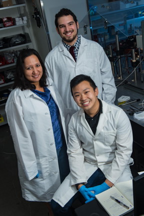 Rice University researchers, from left, Sibani Lisa Biswal, Burke Garza and Steve Kuei.