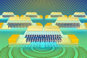 Researchers have designed a light-emitter and detector that can be integrated into silicon CMOS chips. This illustration shows a molybdenum ditelluride light source for silicon photonics.