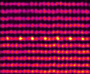 This is a scanning transmission electron microscopy image of the atomic ordering in (In, Ga)N monolayer: single atomic column, containing only indium (In) atoms (shown by higher intensity on the image), followed by two, containing only gallium (Ga) atoms.
