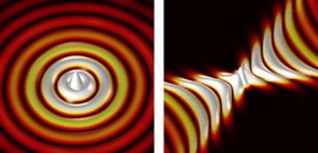 This is an illustration of waves propagating away from a point-like source. Left: Regular wave propagation. Right: Wave propagation on a hyperbolic metasurface.