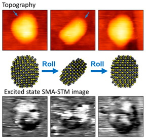 Conventional STM image of a quantum dot, top, compared with an image produced using the new excited-state SMA-STM technique. 