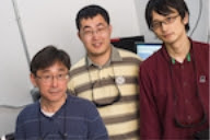 From left, Rice University physicist Junichiro Kono, postdoctoral researcher Weilu Gao and graduate student Fumiya Katsutani, whose work on a collaborative project with Tokyo Metropolitan University led to the discovery of a novel quantum effect in carbon nanotube films invented by the Rice lab. (Credit: Jeff Fitlow/Rice University)
