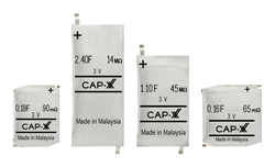 CAP-XX is the first manufacturer to provide 3V supercapacitors in thin, prismatic form factors, 0.9mm to 1.9mm thick: Z, 20mm x 15mm; A, 20mm x 18mm; W, 17.5mm x 28.5mm; S, 17.5mm x 39.5mm.
