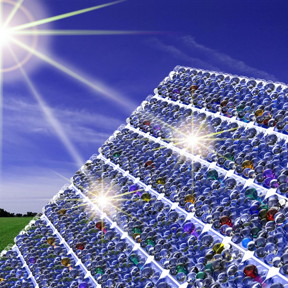 This is illustration shows the nanoresonator coating, consisting of thousands of tiny glass beads, deposited on solar cells. The coating enhances both the absorption of sunlight and the amount of current produced by the solar cells.
