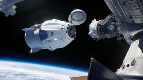 SpaceX Crew Dragon docking at the International Space Station. Illustration: NASA