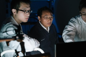 Physicist Zhifeng Ren, center, director of the Texas Center for Superconductivity at the University of Houston, led a project to resolve the problem of asymmetrical thermoelectric performance.