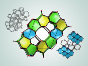 An illustration depicts three of 43 newly predicted superhard carbon structures. The cages colored in blue are structurally related to diamond, and the cages colored in yellow and green are structurally related to lonsdaleite.