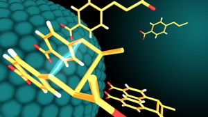 Nanoparticle catalysts and light drive a reaction that produces bioactive molecules.