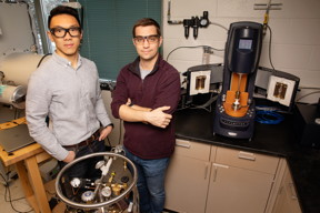 Materials science and engineering professor Christopher Evans, right, and graduate student Brian Jing have developed a solid battery electrolyte that is both self-healing and recyclable.