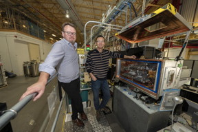 "The team of scientists worked together with Eli Stavitski (left) and Yonghua Du (right) to ""see"" the lighter elements in their catalyst at the Tender Energy X-ray Absorption Spectroscopy (TES) beamline at the National Synchrotron Light Source II (NSLS-II).