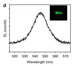 These are the wavelengths of light emitted from the spintronic LED. The inset shows the green light from the device.