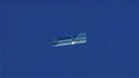 Image: Starship Serial Number 8 in return flight, courtesy SpaceX.