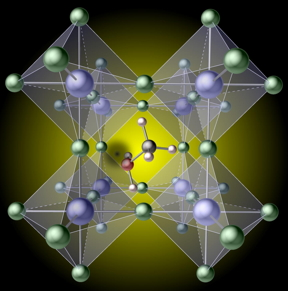 A hydrogen vacancy (the black spot left of center) created by removing hydrogen from a methylammonium molecule, traps carriers in the prototypical hybrid perovskite, mehtylammonium lead iodide CH3NH3Pbl3  CREDIT Xie Zhang